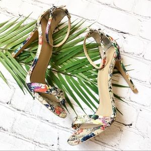 Express Floral Strappy Sandals Heels Size 7